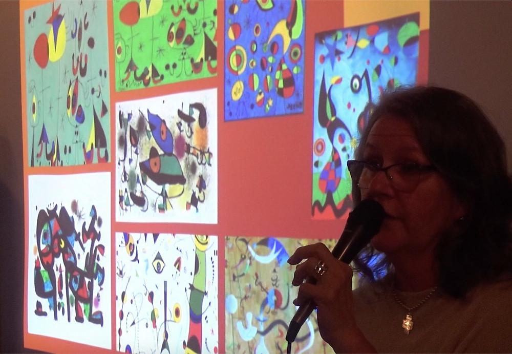 Martinez discussing techniques behind Miro's art.