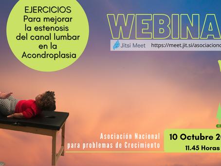 """WEBINAR """"Ejercicios para mejorar la estenosis del canal lumbar"""" ( Sábado 10-10 a las 11.45 )"""