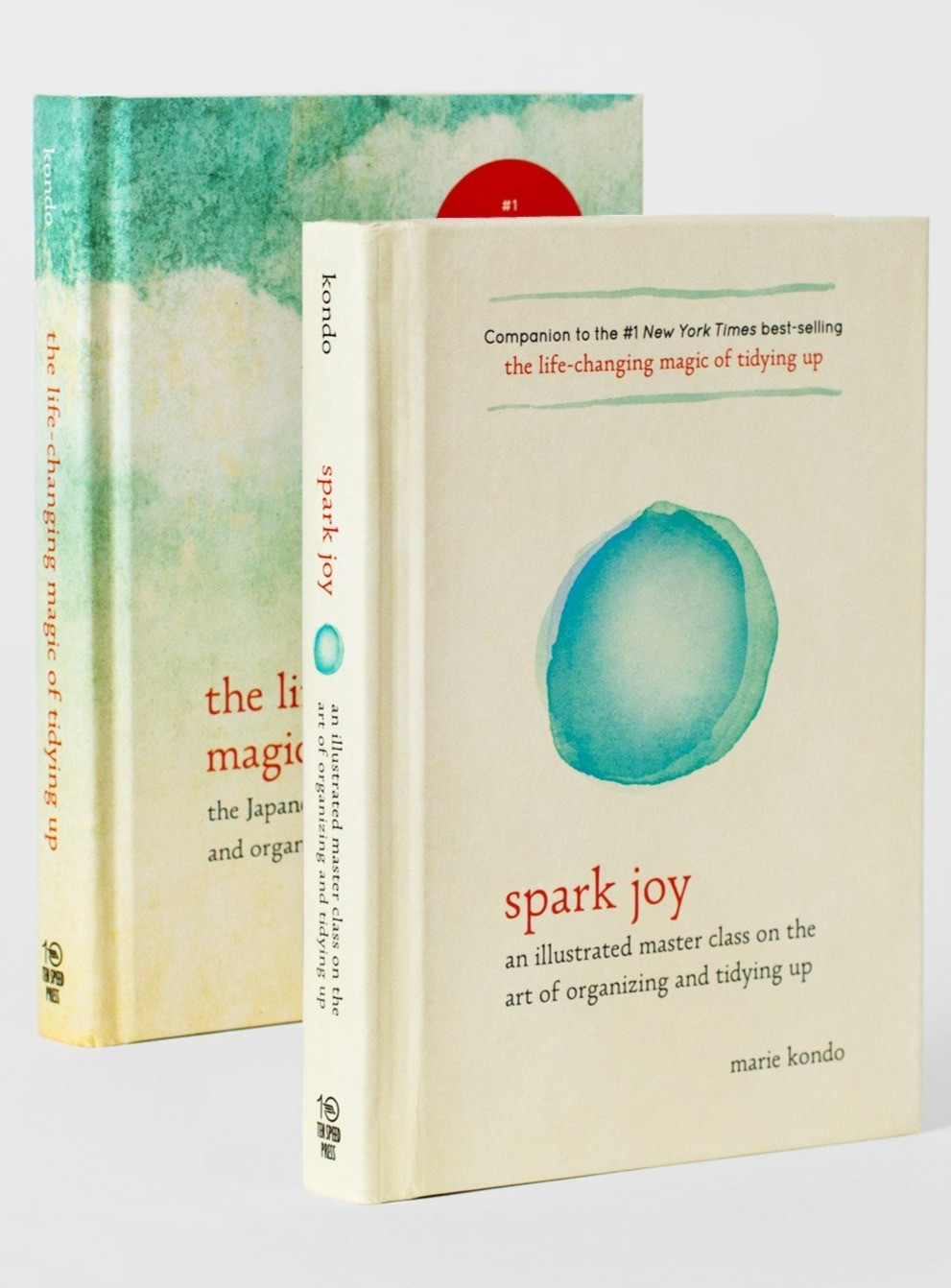 Marie Kondo's book collection Spark Joy and The Life Changing Magic of Tidying Up.