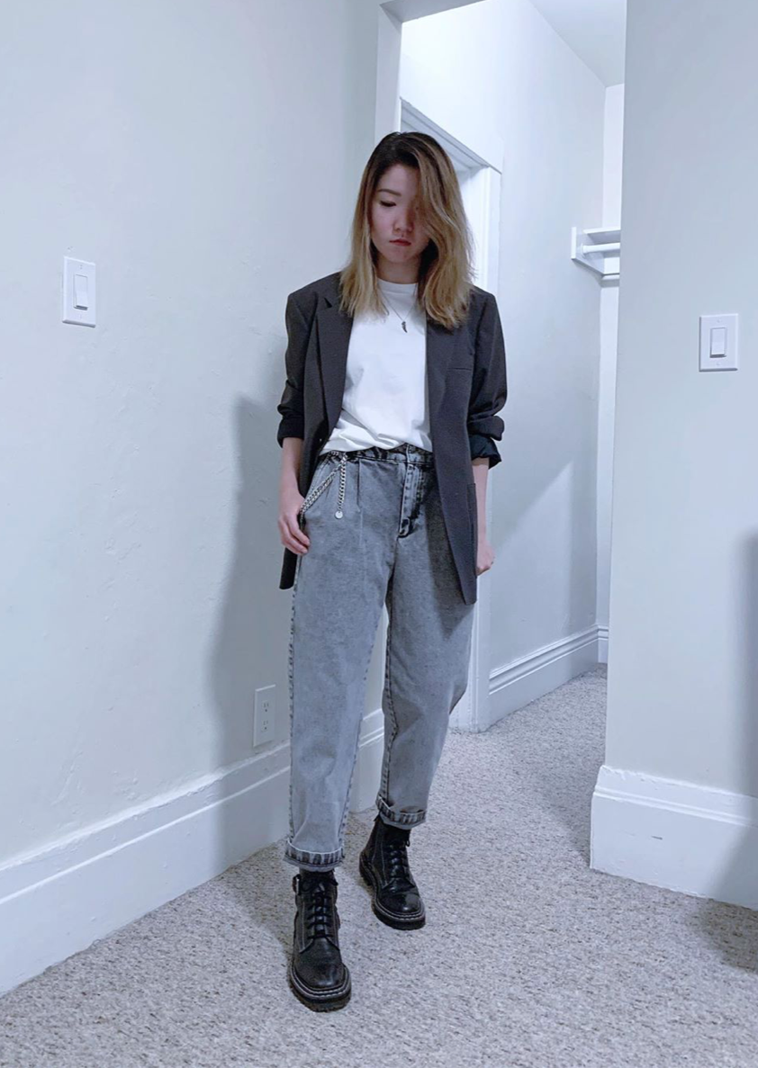 White tee, grey jeans, blazer, black military boots outfit by petitestylereport, RollingBear Travels blog.