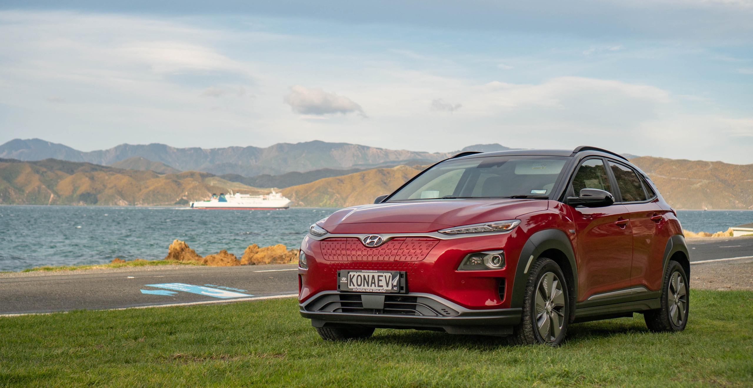 Hyundai Kona Electric 2019 front exterior red Wellington New Zealand Interislander
