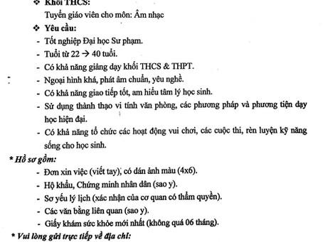 Trường THCS & THPT Lê Lợi (Phan Thiết, Bình Thuận) tuyển dụng