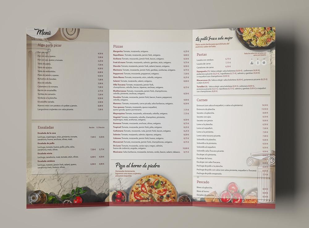Diseño de carta de restaurante.