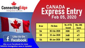 CANADA - Express Entry Draw 5th Feb 2020