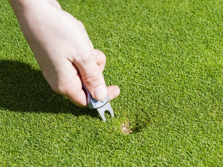 Missed putt due to pitch mark sends local amateur golfer over the edge.......