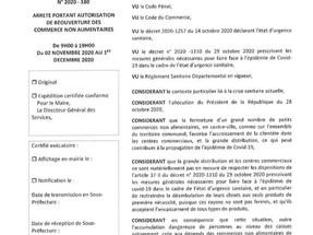 Arrêté Municipal pour l'ouverture des commerces dès lundi 2 novembre.