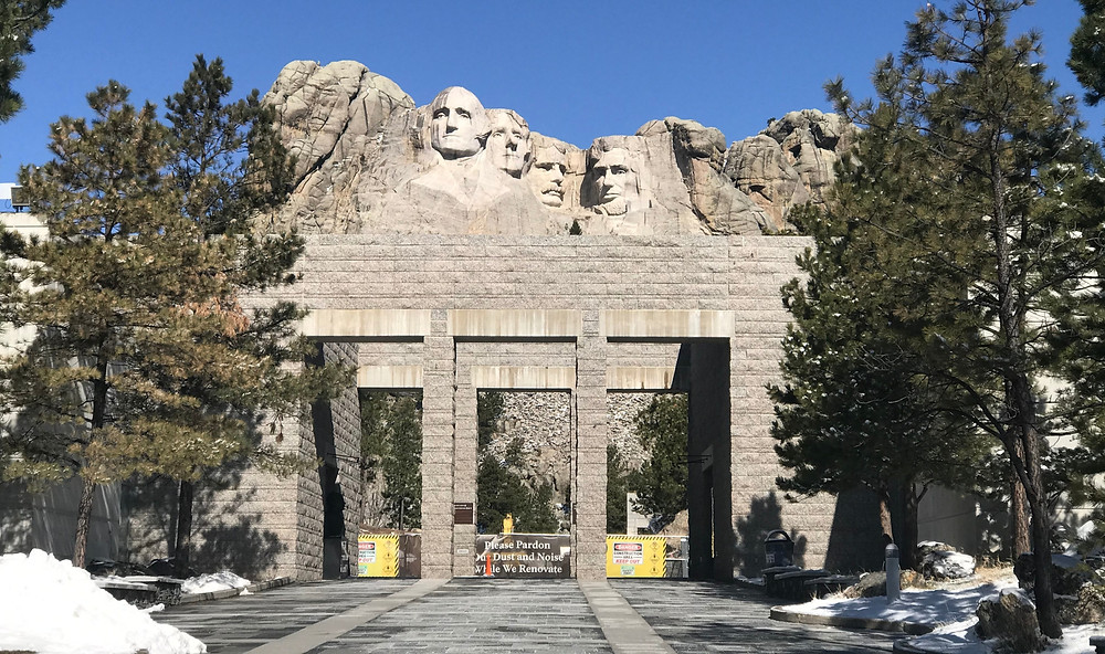 Entrance to Mt. Rushmore empty during COVID shutdown.