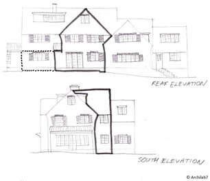 Hand Sketches of Proposed Residential Extension