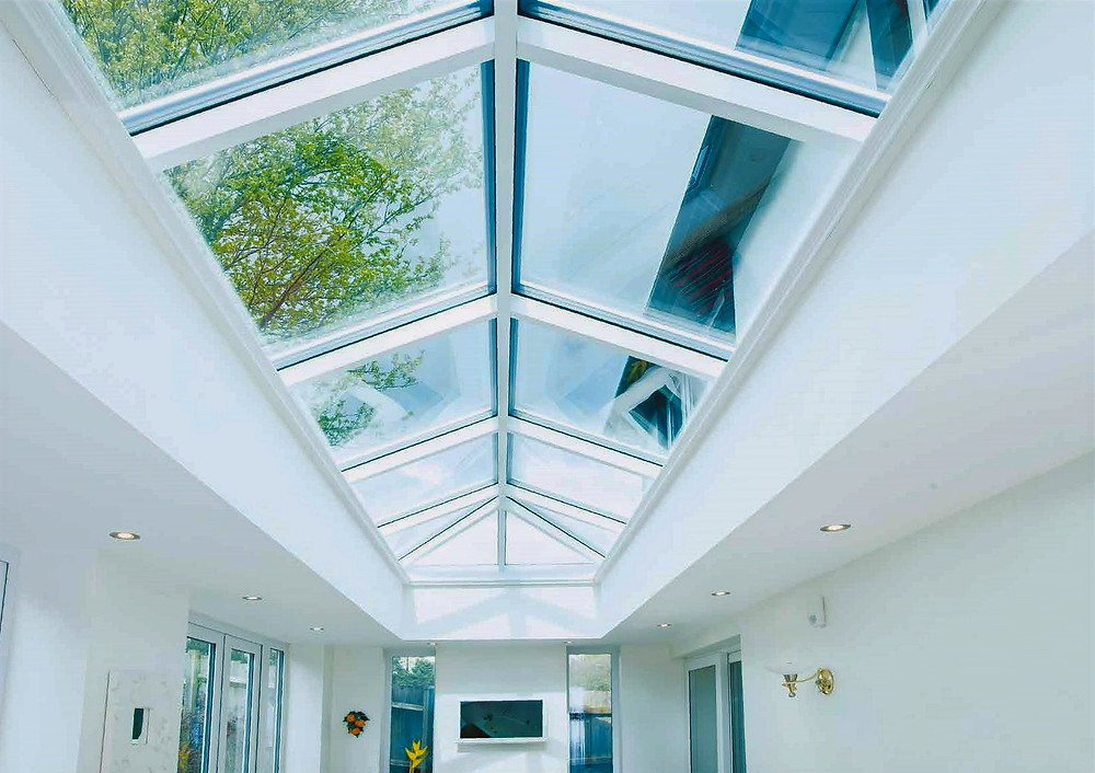 Lantern glass roof with white aluminium frame inside view