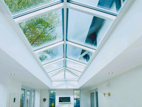 Glass roofs- lanterns and flat rooflights.