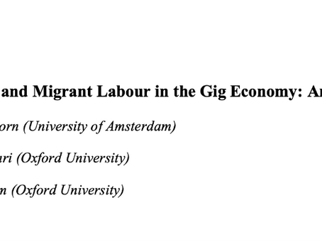 Migration and Migrant Labour in the Gig Economy: An Intervention