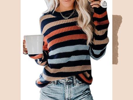 Amazon Colorblock Rainbow Striped Sweater