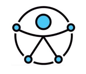 Simbolo con un circulo y dentro de ella una persona que se ajusta al circulo