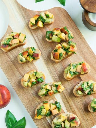 Peach, Avocado, & Basil Bruschetta - Vegan