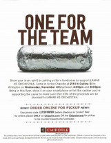 Chipotle Fundraiser Night!!! Wednesday, November 4th from 4:00-8:00 PM