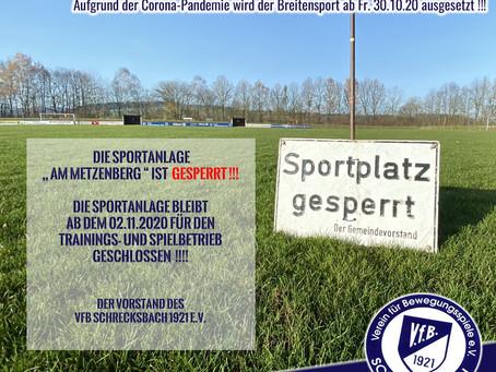 Hessischer Fußball-Verband setzt Spielbetrieb ab sofort aus !!!