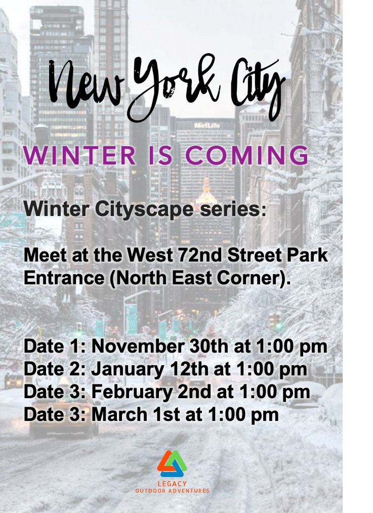 Daniel Rogers, New york City, Wilderness Therapy, Nature Connection, Seasonal Affective Disorder,  Legacy Cityscape Adventure, Winter Cityscape Series,