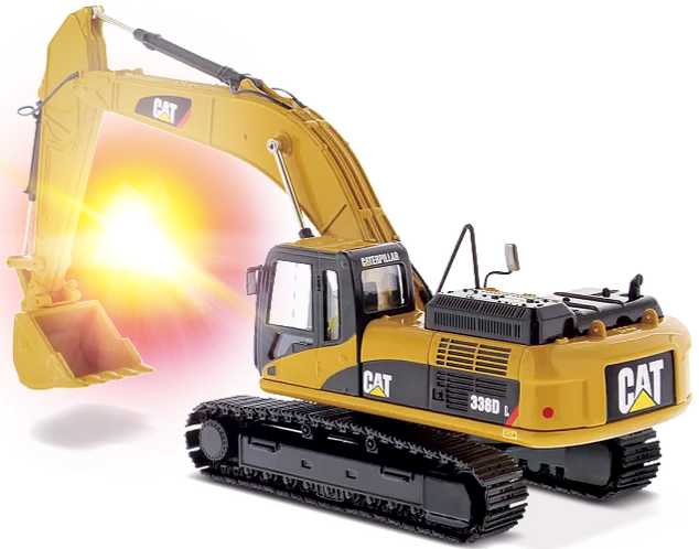 Depicted in this image is a Construction or Earthmoving Machine, typically known as an Excavator