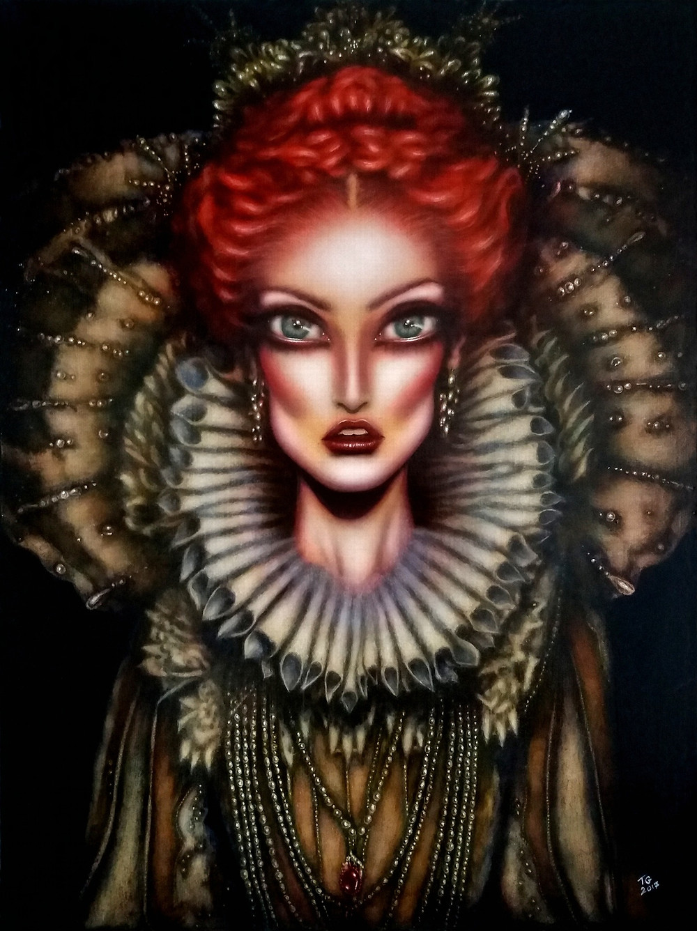 painting of Queen Elizabeth I with intense blue eyes a collar and pearls by tiago azevedo a lowbrow pop surrealism artist
