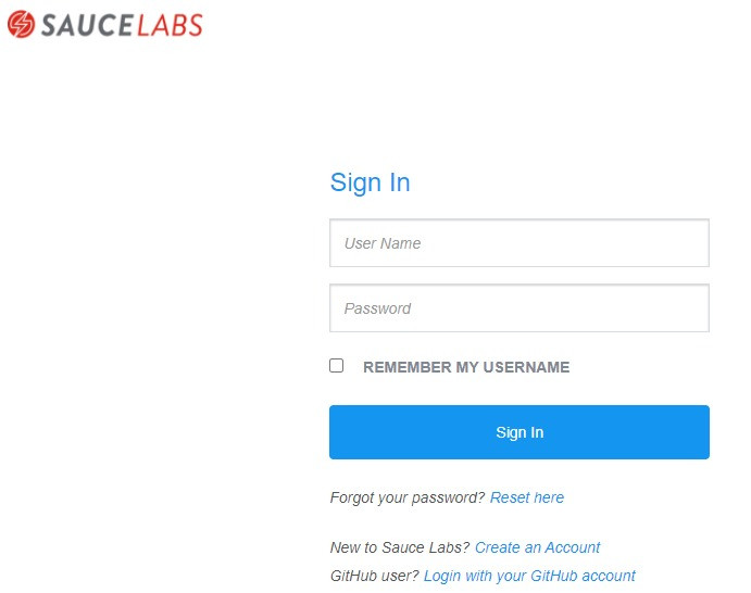 Sauce Labs - Sign in page