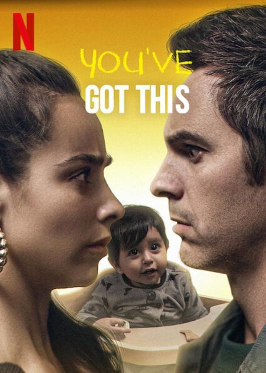 The poster image for the film is simple, with a gradient yellow-to-white background, and our two lovers facing each other, a baby between them in the background.,