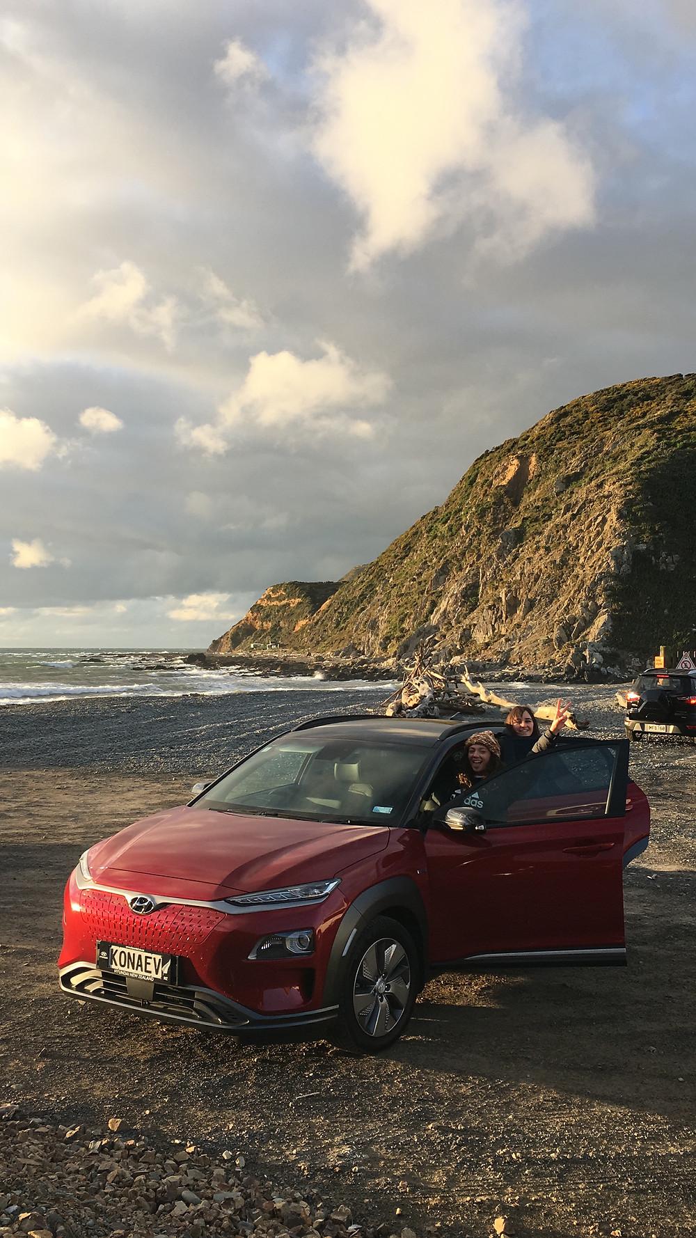 Hyundai Kona Electric 2019 front exterior red Wellington New Zealand Makara beach