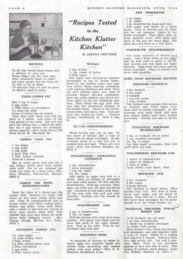 1940's Fruit Jam Recipes