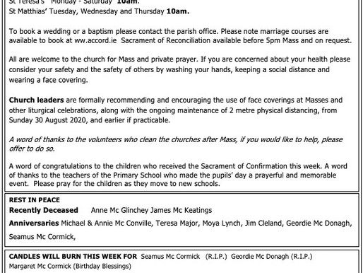 The St Teresa's Parish Bulletin for Sunday, 30th August 2020 is now available