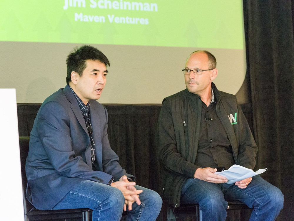 Eric Yuan and Jim Scheinman on stage at the annual Maven Hypergrowth Retreat.
