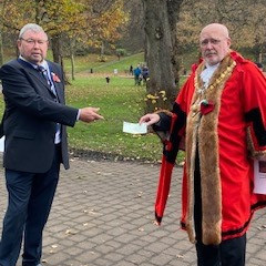 Mayor of Whitehaven Town Council presents cheque to British Legion
