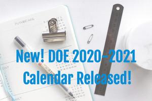 New! DOE 2020-2021 School Calendar Released