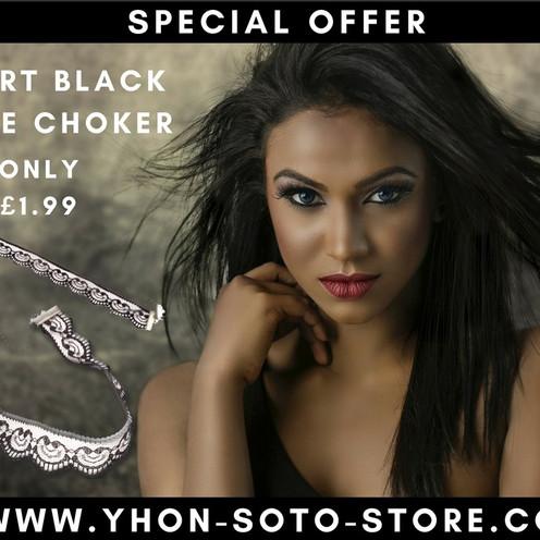 Heart Black Lace Choker