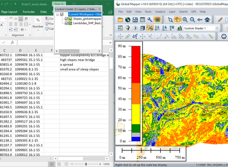 Global Mapper, excel spreadsheets, and HSQI