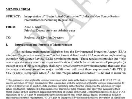 "EPA proposes changes to ""Begin Actual Construction"" April 2, 2020 | Eric L. Hiser"