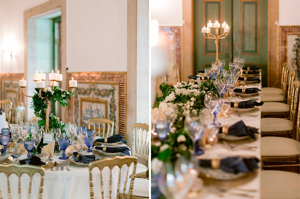 Blue water glasses and classic dark blue napkins for the wedding reception at Quinta do Torneiro with round and long tables