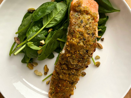 Greek Style Pistachio Crusted Salmon
