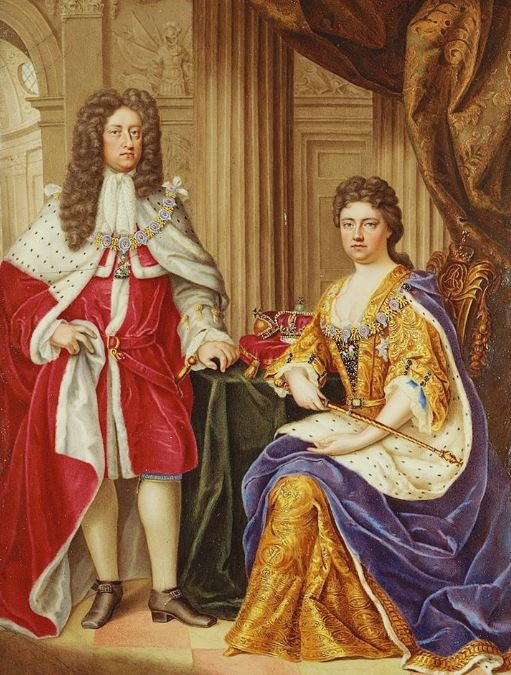 Queen Anne and her husband Prince George of Denmark by Charles Boit 1706