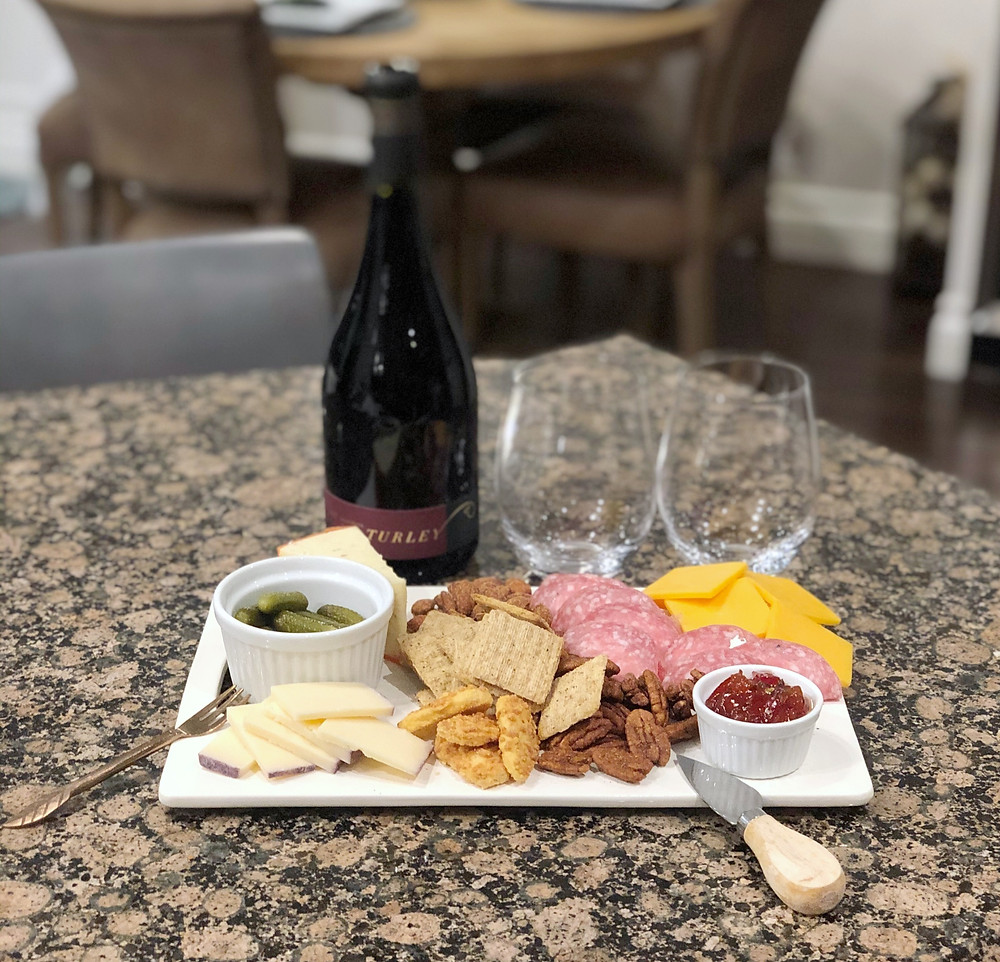 date night, wine and cheese, cheese and meat tray
