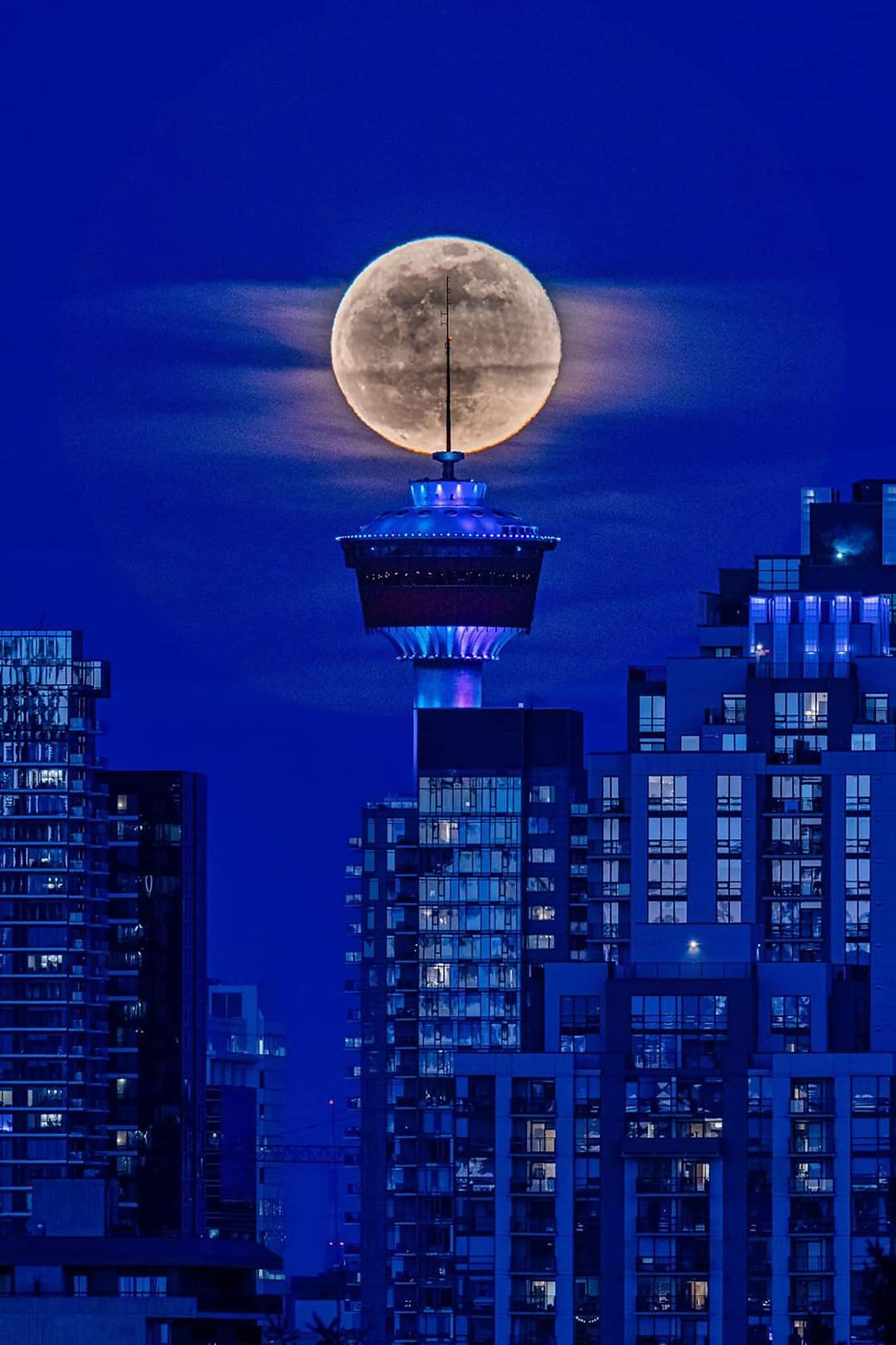 A moonlit Calgary skyline