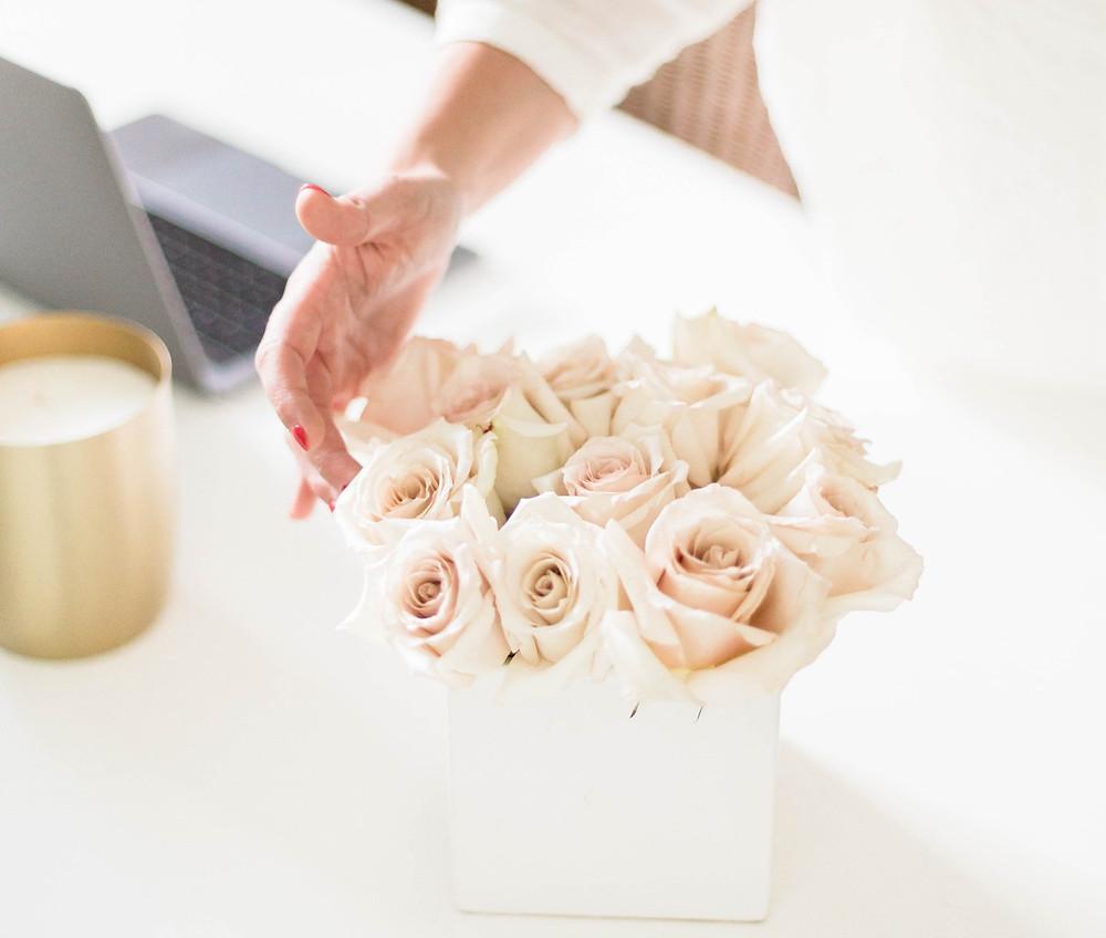 office desk flowers