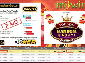 Supreme Caishen slot game get Jackpot to win RM3500 in JOKER