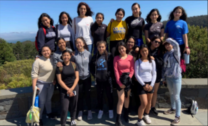 The varsity volleyball team on a bonding trip in the Presidio
