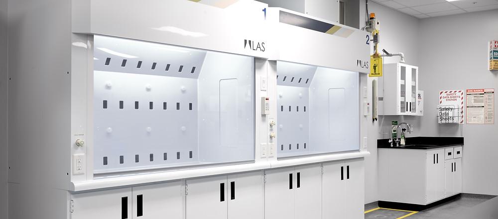 Pair of LAS-1000 Fumehoods in Laboratory setting.