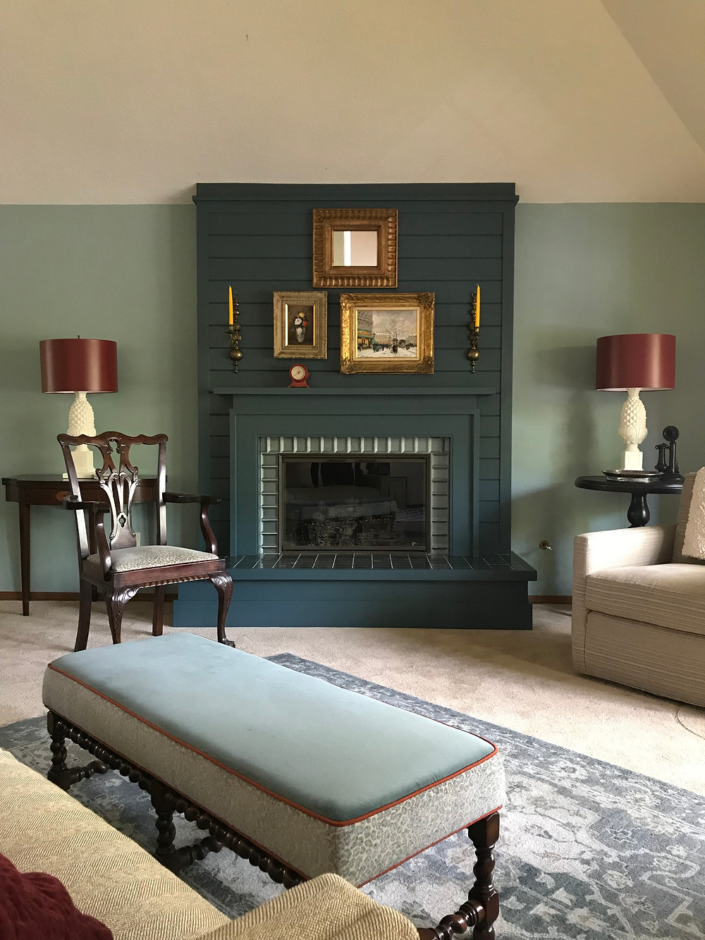painted lamps, green fireplace, remodel, antiques, old and new living room, living room, green living room, HC-133, Yorktown Green, Ben Moore HC-133, reused, repurpose, pineapple lamps, remodel, new fireplace surround, classical architecture