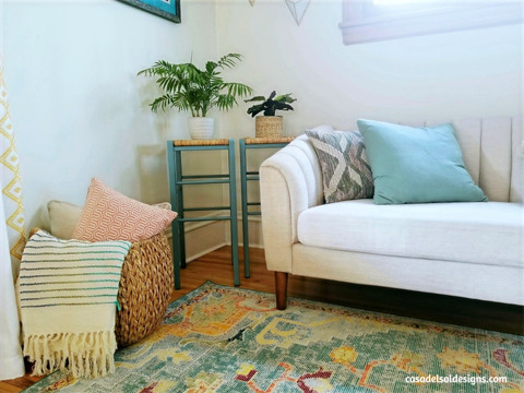 DIY Painted Rattan Chairs & Living Room Update