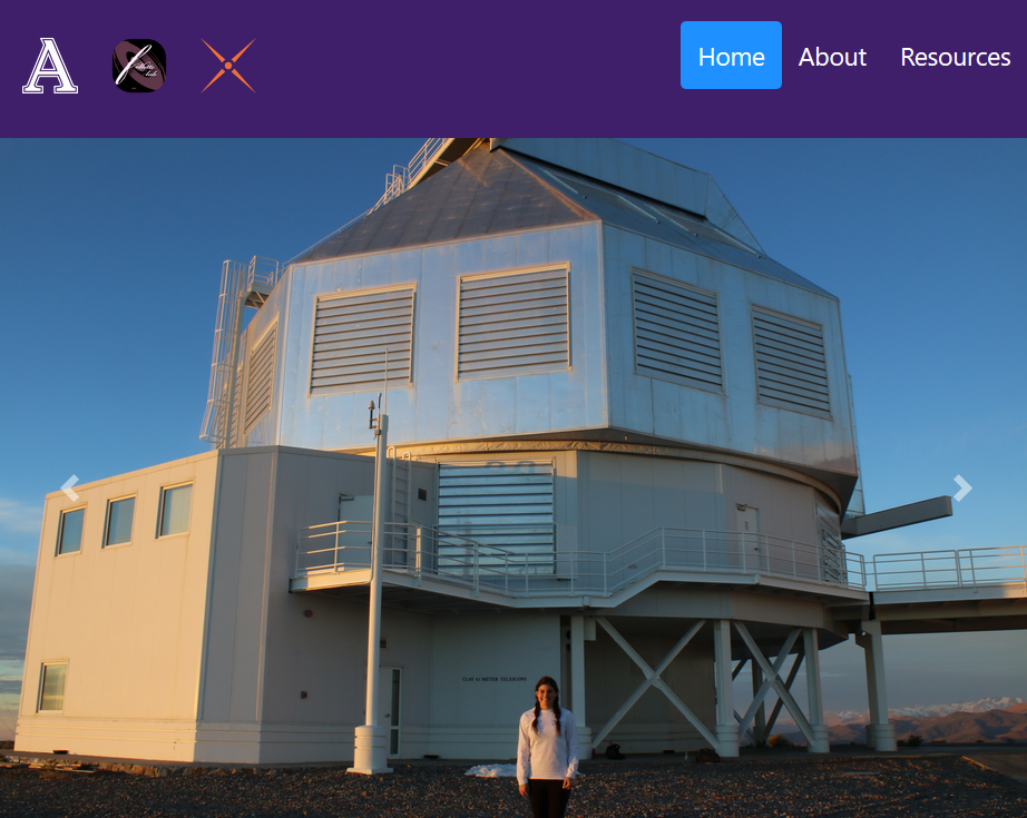 "An image of a website, with a header containing three buttons (an Amherst College logo, a Follette Lab logo, and a MagAOX logo) and three page links (to ""Home"", ""About"", and ""Resources"". Below the header is a large image of a telescope dome, and a small figure (a woman, with hair in two pigtails and wearing a white shirt) standing on the mountain rock in front of the dome."