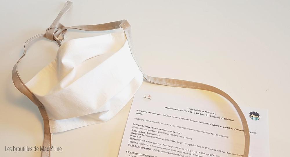 Masque barrière AFNOR SPEC S76-001: 2020 - Les Broutilles de Made'Line