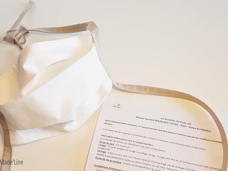 Masques barrières AFNOR SPEC S76-001: 2020