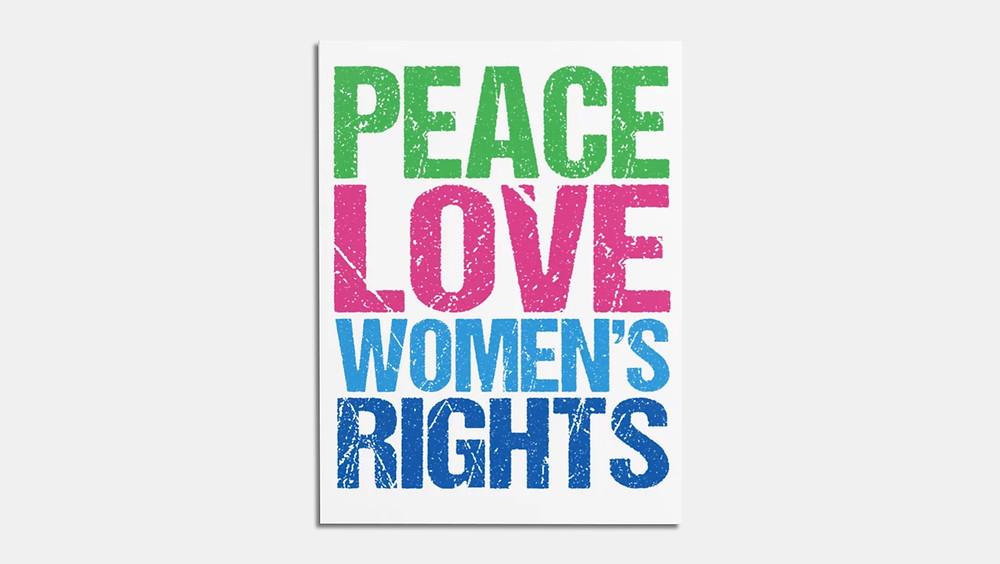 Póster en inglés sobre los derechos de la mujer.