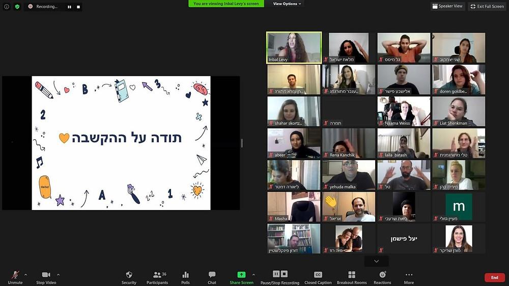 צילום מסך של תוכנת זום עם שלל מתורגמניות ומתורגמנים חביבים בצד ימין, ובצד שמאל שקופית אחרונה במצגת של ענבל לוי